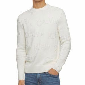 {Calvin Klein} Ivory Textured Logo Sweater Size M